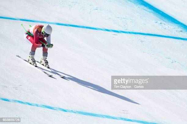 Denise Feierabend of Switzerland in action during the Alpine Skiing Ladies' Alpine Combined Downhill at Jeongseon Alpine Centre on February 22 2018...