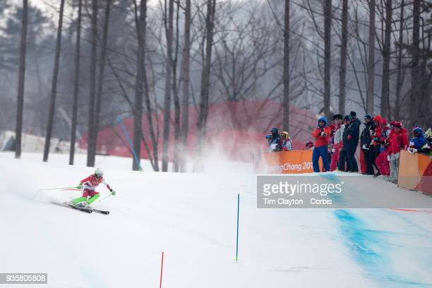 Denise Feierabend of Switzerland in action during the Alpine Skiing Ladies' Alpine Combined Slalom at Jeongseon Alpine Centre on February 22 2018 in...