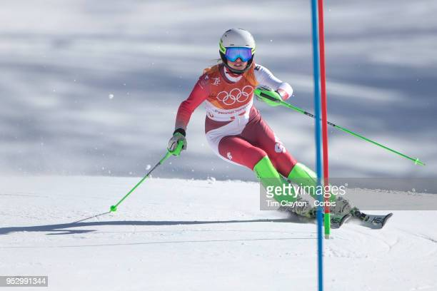 Denise Feierabend of Switzerland in action during the Alpine Skiing Ladies' Slalom competition at Yongpyong Alpine Centre on February 16 2018 in...