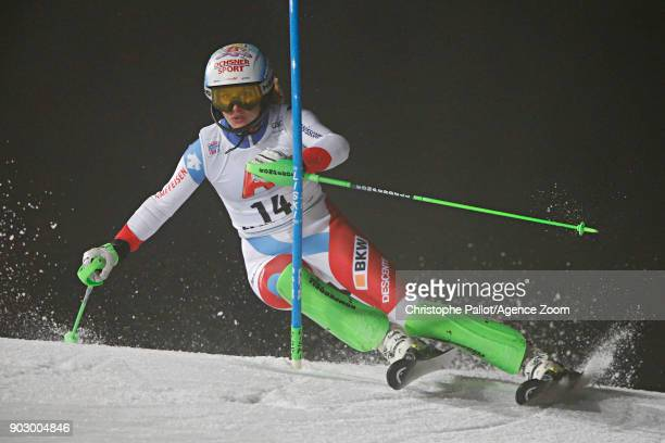 Denise Feierabend of Switzerland in action during the Audi FIS Alpine Ski World Cup Women's Slalom on January 9 2018 in Flachau Austria