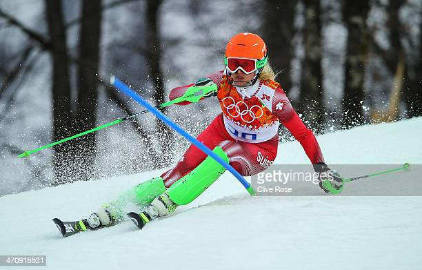 Denise Feierabend of Switzerland in action during the Women's Slalom during day 14 of the Sochi 2014 Winter Olympics at Rosa Khutor Alpine Center on...
