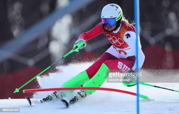 Denise Feierabend of Switzerland in the 1 heat of the women's Slalom alpine skiing event during the Pyeongchang 2018 winter olympics in Yongpyong...