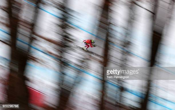 Denise Feierabend of Switzerland makes a run during Alpine Skiing Ladies' Downhill Training on day 10 of the PyeongChang 2018 Winter Olympic Games at...