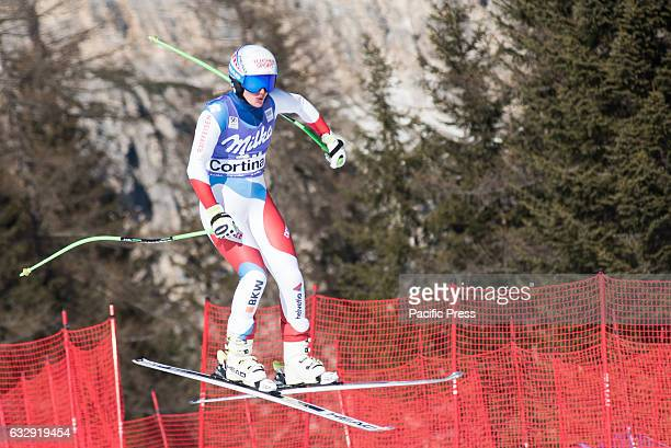 AMPEZZO ITALY CORTINA D'AMPEZZO DOLOMITES ITALY Denise Feierabend of Switzerland on the course during the Downhill race in Cortina dAmpezzo Italy on...