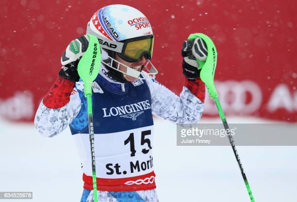 Denise Feierabend of Switzerland reacts after the Women's Combined during the FIS Alpine World Ski Championships on February 10 2017 in St Moritz...