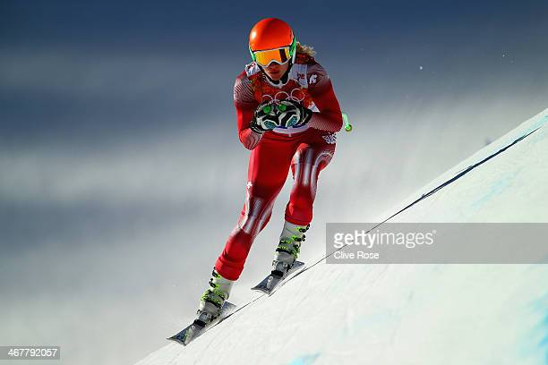 Denise Feierabend of Switzerland skis during training for the Alpine Skiing Women's Downhill during the Sochi 2014 Winter Olympics at Rosa Khutor...
