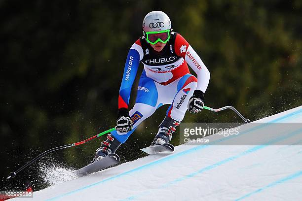 Denise Feierabend of Switzerland skis in the Women's Super Combined Downhill during the Alpine FIS Ski World Championships on the Kandahar course on...