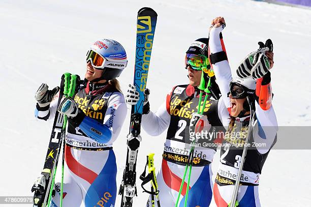 Denise Feierabend Wendy Holdener Luca Aerni of Team Switzerland during the Audi FIS Alpine Ski World Cup Nation's Team Event on March 14 2014 in...