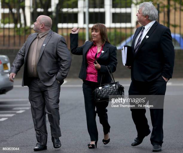 Denise Fergus arrives at Burlington House in Crosby Merseyside with her husband Stuart and solicitor Sean Sexton