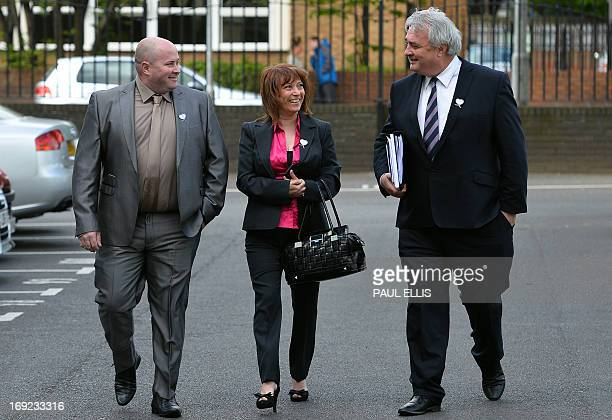 Denise Fergus arrives with her husband Stuart and lawyer Sean Sexton to address a parole hearing for Jon Venables by video link from Crosby near...