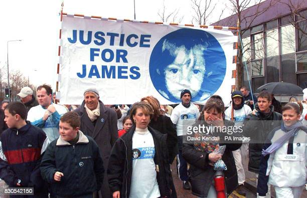 Denise Fergus centre the mother of the murdered little boy James Bulger leading a march of more than 300 people in protest at the expected release of...