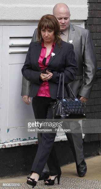 Denise Fergus leaves Burlington House in Crosby Merseyside with her husband Stuart