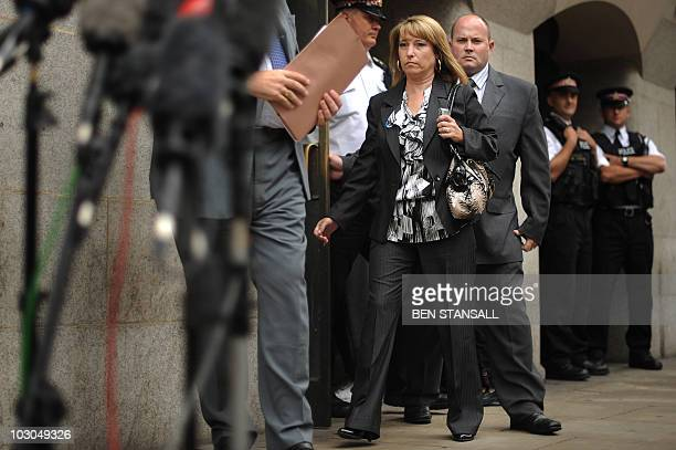 Denise Fergus mother of murdered British toddler James Bulger and her husband Stuart leave the Old Bailey in London on July 23 2010 One of Britain's...