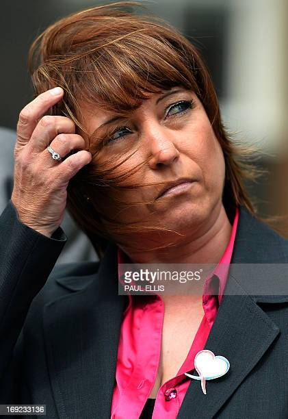 Denise Fergus speaks to the press after addressing a parole hearing for Jon Venables by video link from Crosby near Liverpool in northwest England on...