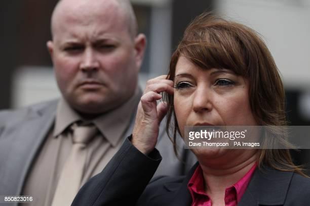 Denise Fergus talks to the media as she leaves Burlington House in Crosby Merseyside with her husband Stuart