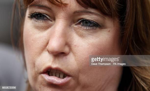 Denise Fergus talks to the media as she leaves Burlington House in Crosby Merseyside