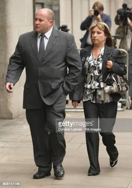Denise Fergus the mother of James Bulger arrives with her partner Stuart Fergus at the Old Bailey in central London where her son's killer Jon...