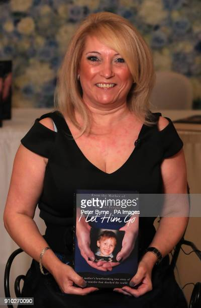 Denise Fergus the mother of murdered toddler James Bulger with her book 'I Let Him Go' during its launch in The Suites Hotel in Knowsley Merserside