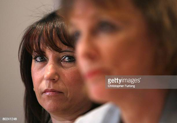 Denise Fergus the mother of murdered twoyearold James Bulger listens to Esther Rantzen as they attend a press conference to launch an appeal to raise...