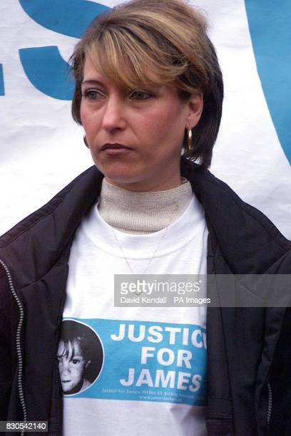 Denise Fergus the mother of the murdered little boy James Bulger leading a march of more than 300 people in protest at the expected release of his...