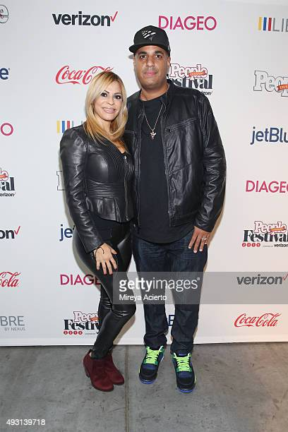 Denise Garcia and DJ Logo attend the 4th Annual People en Espanol Festival at Jacob Javitz Center on October 17, 2015 in New York City.