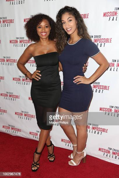 """Denise Garcia and Giselle Joanne attend """"Mission: Impossible - Fallout"""" Screening on July 20, 2018 in Los Angeles, California."""