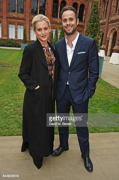 Denise Gough and guest attend the Olivier Awards Summer Party in celebration of the new exhibition 'Curtain Up' at The VA on July 4 2016 in London...