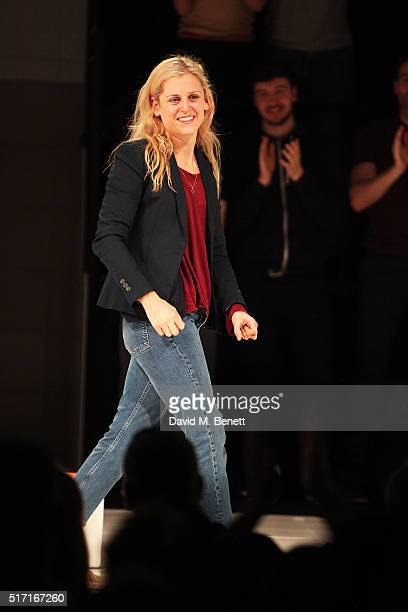 Denise Gough bows at the curtain call during the press night performance of 'People Places and Things' at The Wyndhams Theatre on March 23 2016 in...