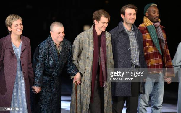 Denise Gough Nathan Lane Andrew Garfield James McArdle and Nathan StewartJarrett attend the press night performance of 'Angels In America' at The...
