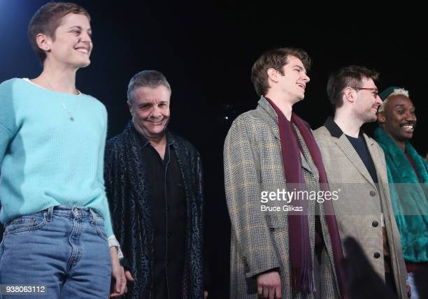 Denise Gough Nathan Lane Andrew Garfield James McArdle and Nathan StewartJarrett take their opening night curtain call in 'Angels in America' on...