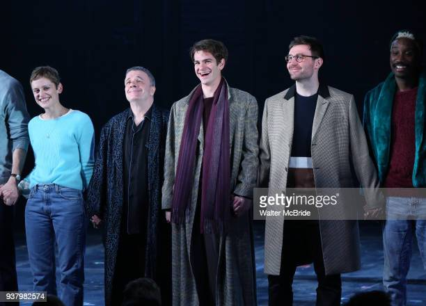 Denise Gough Nathan Lane Andrew Garfield James McArdle Nathan StewartJarrett during the 'Angels in America' Broadway Opening Night Curtain Call Bows...