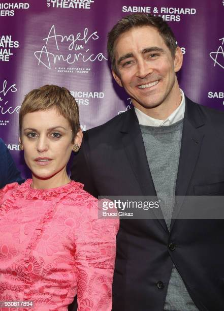 Denise Gough who plays 'Harper Pitt' and Lee Pace who plays 'Joseph Pitt' pose at the 'Angels In America' on Broadway's National Theatre American...