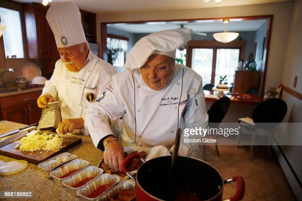 Denise Graffeo makes eggplant parmesan with her husband Anthony at their home in Saugus MA on Oct 24 2017 Graffeo a North Shore chef is the first...