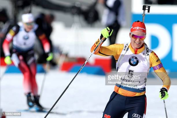 Denise Herrmann of Germany celebrates winning the 2nd place of the Women 10 km Pursuit Competition at the IBU World Championships Biathlon...
