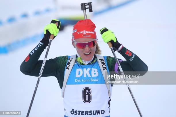 Denise Herrmann of Germany celebrates winning the gold medal during the Women's 10km Pursuit race at the IBU Biathlon World Championships at Swedish...