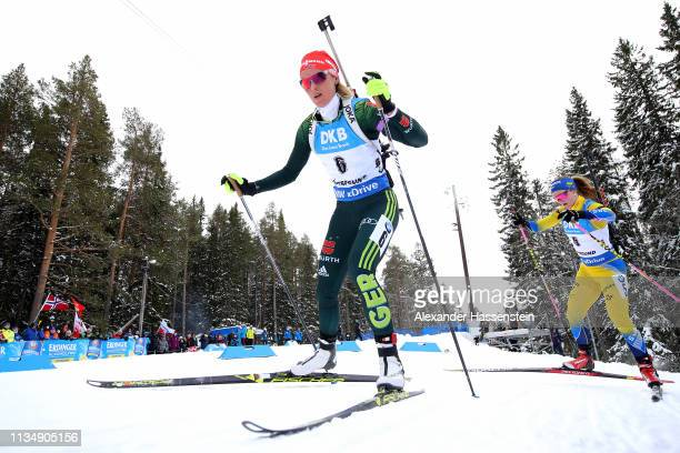 Denise Herrmann of Germany competes at the IBU Biathlon World Championships Women's Pursuit at Swedish National Biathlon Arena on March 10, 2019 in...
