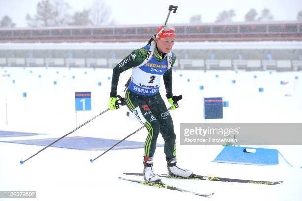Denise Herrmann of Germany competes at the IBU Biathlon World Championships Women's Mass Start at Swedish National Biathlon Arena on March 17 2019 in...