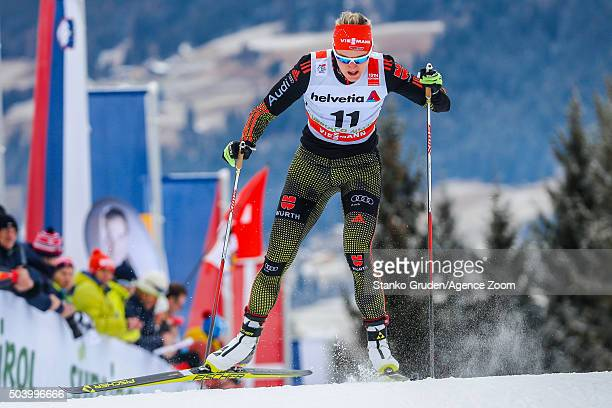 Denise Herrmann of Germany competes during the FIS Nordic World Cup Men's and Women's Cross Country Tour de Ski on January 8 2016 in Toblach...