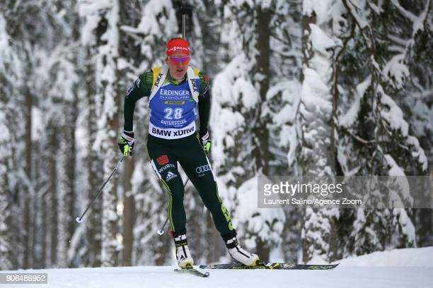 Denise Herrmann of Germany competes during the IBU Biathlon World Cup Women's Sprint on January 18 2018 in AntholzAnterselva Italy