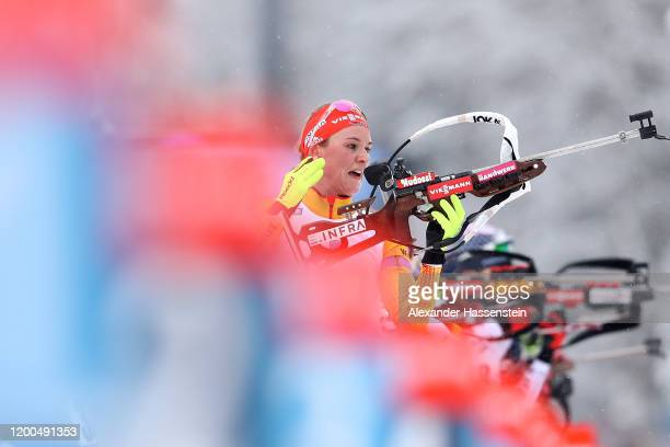 Denise Herrmann of Germany competes during the Women 10 km Pursuit Competition at the BMW IBU World Cup Biathlon Ruhpolding on January 19 2020 in...