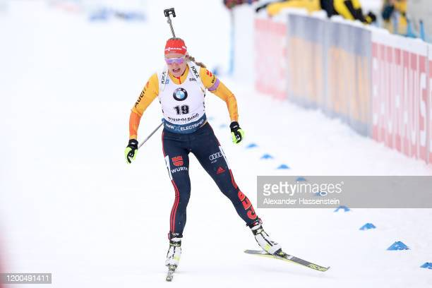 Denise Herrmann of Germany competes during the Women 10 km Pursuit Competition at the BMW IBU World Cup Biathlon Ruhpolding on January 19, 2020 in...