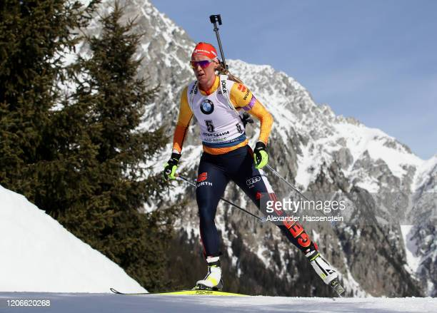 Denise Herrmann of Germany competes during the Women 10 km Pursuit Competition at the IBU World Championships Biathlon AntholzAnterselva on February...