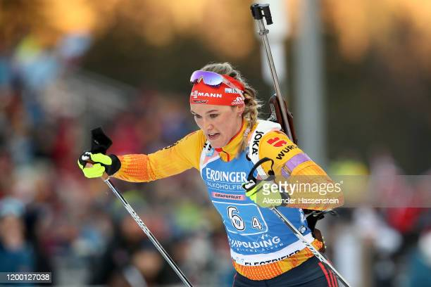 Denise Herrmann of Germany competes during the Women 4x6 km Relay Competition at the BMW IBU World Cup Biathlon Ruhpolding on January 17, 2020 in...