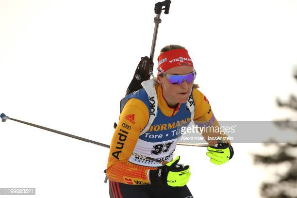 Denise Herrmann of Germany competes during the Women 75 km Sprint Competition at the BMW IBU World Cup Biathlon Ruhpolding on January 15 2020 in...