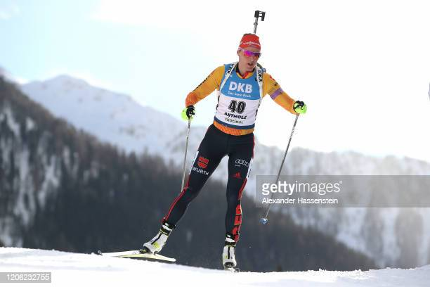 Denise Herrmann of Germany competes during the Women 75 km Sprint Competition at the IBU World Championships Biathlon AntholzAnterselva on February...