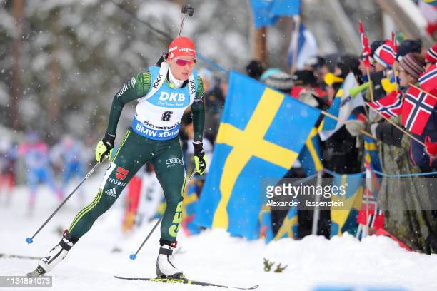 Denise Herrmann of Germany competes during the Women's 10km Pursuit race at the IBU Biathlon World Championships at Swedish National Biathlon Arena...