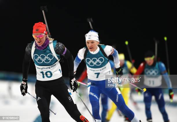 Denise Herrmann of Germany competes during the Women's 125km Mass Start Biathlon on day eight of the PyeongChang 2018 Winter Olympic Games at...