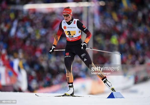 Denise Herrmann of Germany competes during the Women's 4 x 5km CrossCountry Relay during the FIS Nordic World Ski Championships at the Lugnet venue...