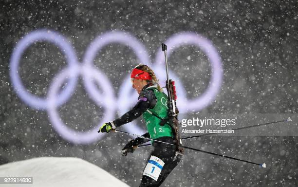 Denise Herrmann of Germany competes during the Women's 4x6km Relay on day 13 of the PyeongChang 2018 Winter Olympic Games at Alpensia Biathlon Centre...
