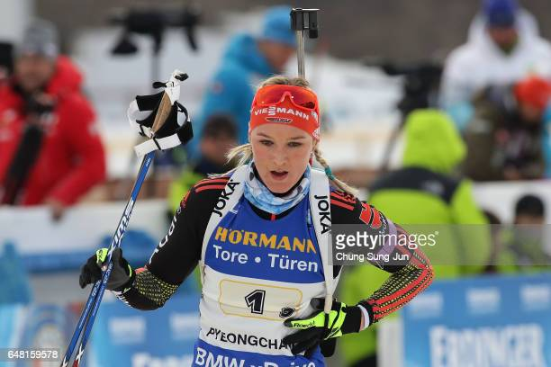 Denise Herrmann of Germany competes in the Women's 4x6km relay during the BMW IBU World Cup Biathlon 2017 test event for PyeongChang 2018 Winter...